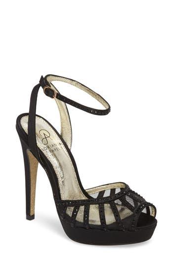 Adrianna Papell Simone Crystal Embellished Platform Sandal, Black