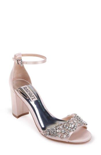 Badgley Mischka Hines Embellished Block Heel Sandal, Pink