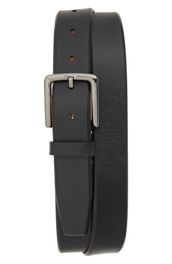 Cole Haan Mitered Leather Belt, Black/ Ivory