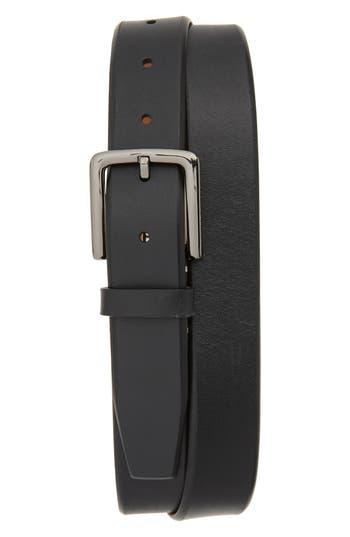 Cole Haan Mitered Leather Belt, Black/ Ivory