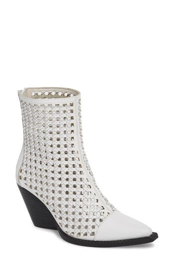Jeffrey Campbell Waven Woven Bootie- White