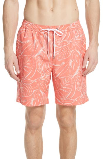 Onia Charles Leaf Print Swim Trunks, Orange