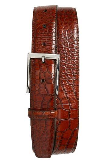 Torino Belts Gator Grain Embossed Leather Belt, Cognac