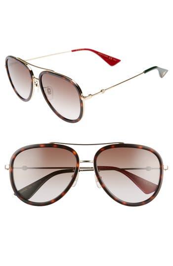 Gucci 57Mm Aviator Sunglasses - Gold/ Red/ Green