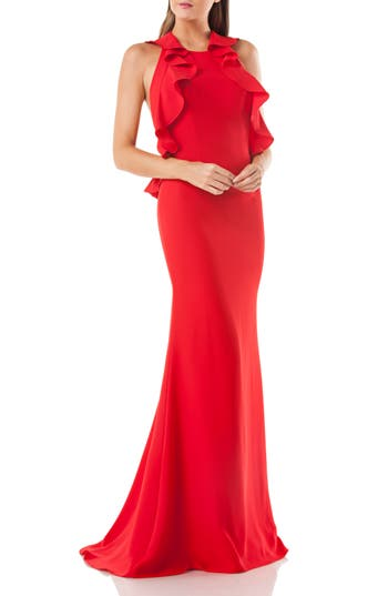 Carmen Marc Valvo Infusion Ruffle Trumpet Gown, Red
