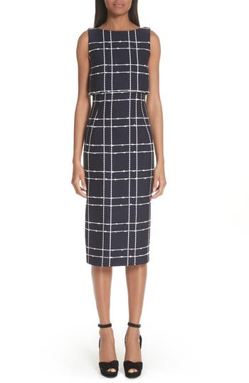 Oscar De La Renta Windowpane Popover Sheath Dress, Blue