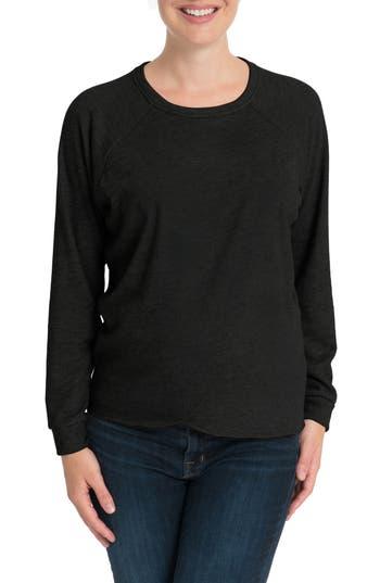 Bun Maternity Tulip Front Maternity/nursing Sweatshirt, Black