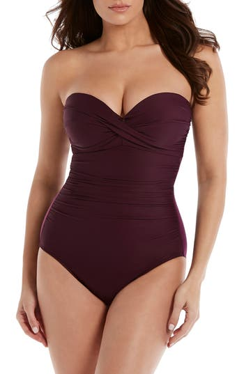 Miraclesuit Rock Solid Madrid One-Piece Swimsuit, Burgundy