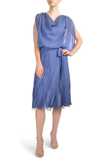 Komarov Charmeuse & Chiffon Blouson Dress, Blue