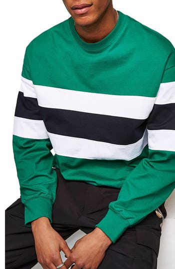 Topman Classic Fit Striped Sweatshirt, Green