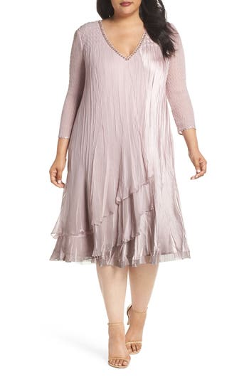 Plus Size Komarov Beaded Neck Layer Hem Chiffon A-Line Dress, Pink
