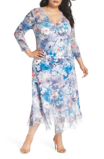 Plus Size Komarov Inset Floral Charmeuse & Chiffon A-Line Dress, Blue