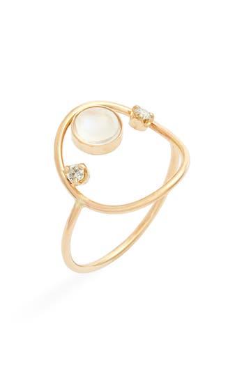 Zoe Chicco Moonstone & Diamond Open Circle Ring