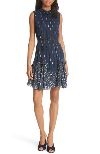 Rebecca Taylor Smocked Metallic Silk Dress, Blue