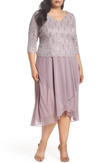 1920s Style Dresses, Flapper Dresses Plus Size Womens Alex Evenings Tea Length Lace  Chiffon Mock Two-Piece Dress $189.00 AT vintagedancer.com