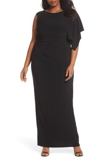 Plus Size Adrianna Papell One Drape Sleeve Jersey Dress, Black
