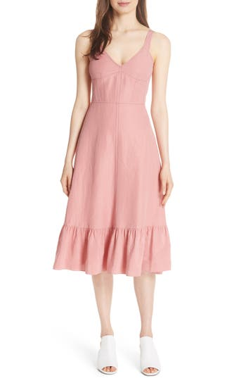 Rebecca Taylor Sleeveless Ruffle Hem Slipdress, Pink