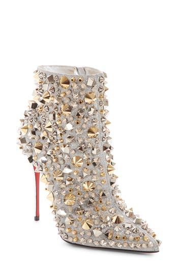 Christian Louboutin So Kate Studded Glitter Bootie, Metallic