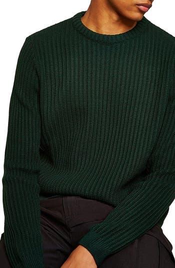 Topman English Knit Crewneck Sweater, Green