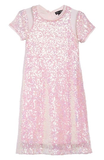 1920s Children Fashions: Girls, Boys, Baby Costumes Toddler Girls Ava  Yelly Sequin Sheath Dress Size 3T - Pink $52.00 AT vintagedancer.com