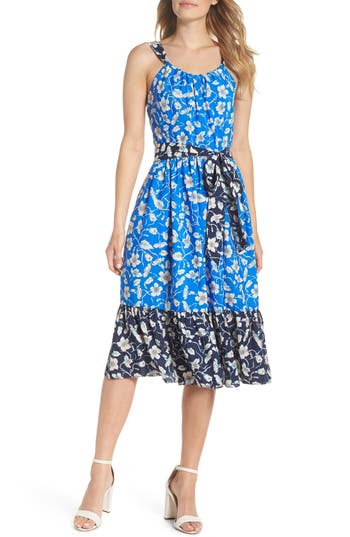 Eliza J Floral Bow-Back Sundress, Blue