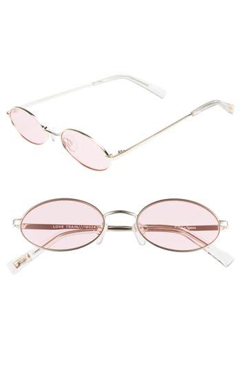 Le Specs Love Train 51Mm Oval Sunglasses - Gold