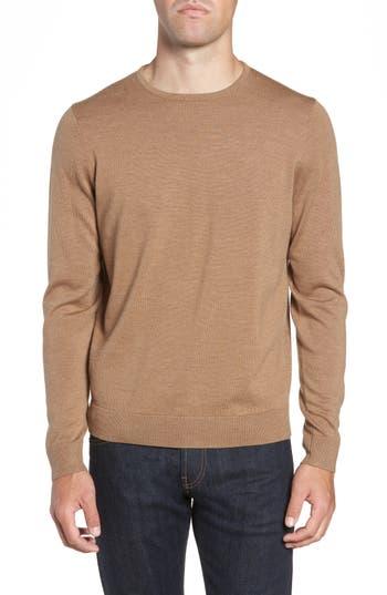 Big & Tall Nordstrom Shop Crewneck Merino Wool Sweater, Brown