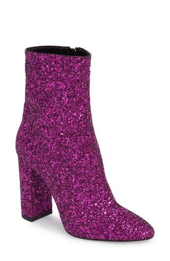 Saint Laurent Loulou Glitter Bootie, Pink