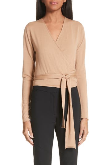 Proenza Schouler Merino Wool Wrap Sweater, Brown