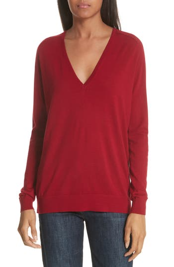 Theory Adrianna Wool V-Neck Sweater, Size Petite - Red