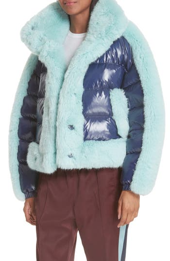 Opening Ceremony Faux Fur Trim Down Puffer Coat, Blue