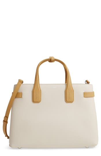 Burberry Medium Banner Leather Tote - Ivory