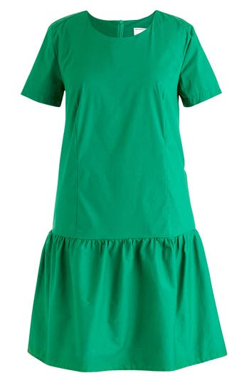1920s Day Dresses, Tea Dresses, Mature Dresses with Sleeves Womens Universal Standard For J.crew Drop Waist Poplin Dress Size X-Large - Green $130.00 AT vintagedancer.com