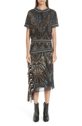 Fuzzi Mixed Paisley Print Dress, Black