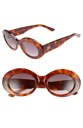 Balenciaga 51Mm Oval Sunglasses - Blonde Havana/ Bordeaux