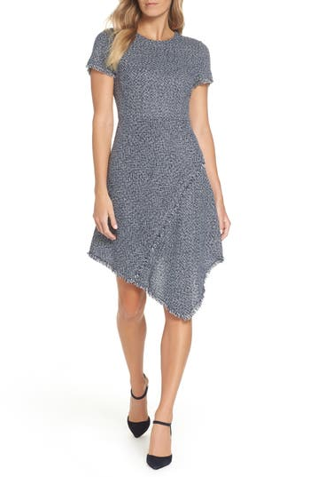 Eliza J Asymmetrical Tweed Dress, Blue