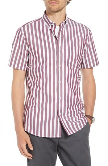 1901 Ivy Trim Fit Stripe Sport Shirt, Burgundy