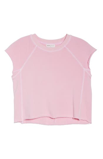 David Lerner Sleeveless Raw Hem Crop Top, Pink