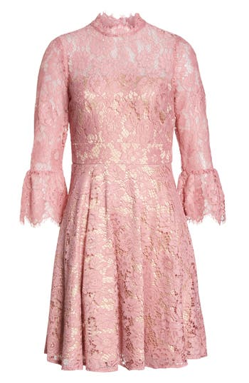 Eliza J Bell Sleeve Lace Fit & Flare Dress, Pink