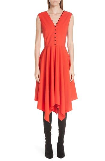 ADEAM Sleeveless Handkerchief Hem Dress, Poppy Red