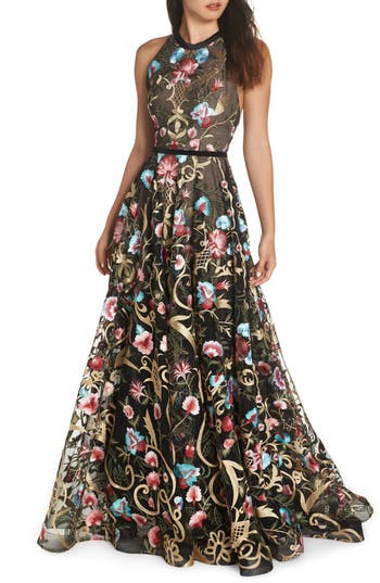 Bronx And Banco Agata Floral Embroidered Gown
