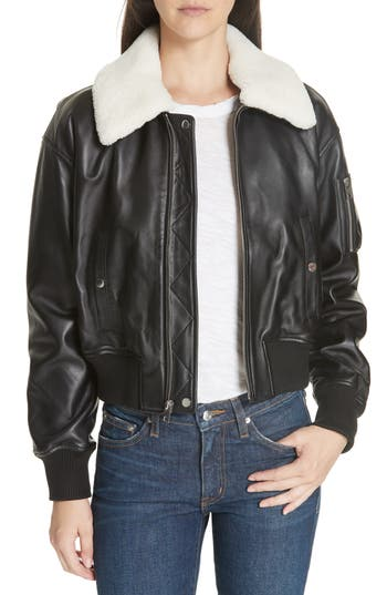 Derek Lam 10 Crosby Cropped Leather Flight Jacket With Genuine Shearling Removable Trim, Black