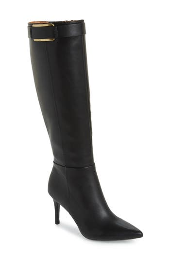 Calvin Klein Glydia Stiletto Knee High Boot, Wide Calf- Black
