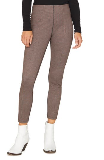 Sanctuary Microcheck Crop Leggings, Burgundy