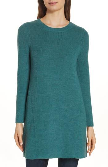 Eileen Fisher Round Neck Merino Wool Tunic, Green