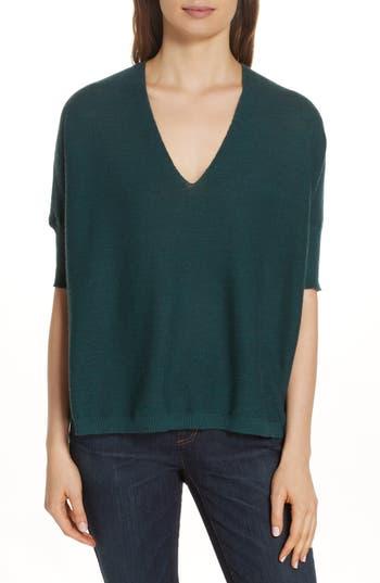 Eileen Fisher Merino Wool Three Quarter Sleeve Sweater, Green
