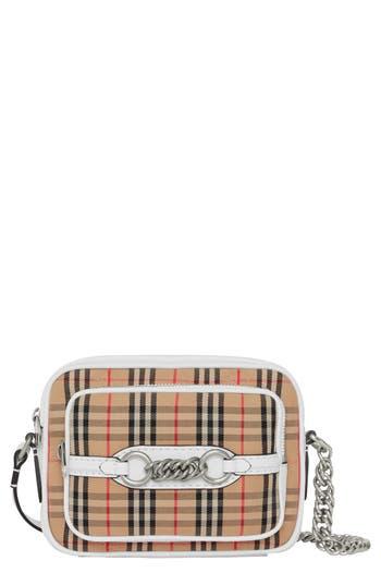 Burberry Vintage Check Link Crossbody Camera Bag - White