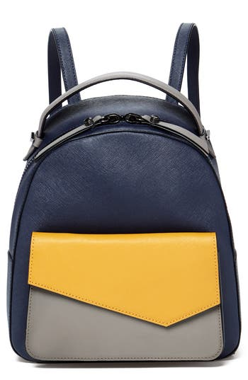 Cobble Hill Calfskin Leather Backpack - Yellow, Blue