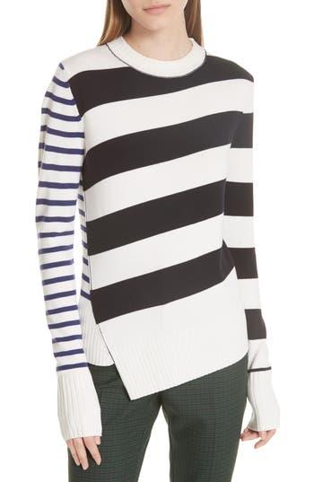 Grey Jason Wu Queen Asymmetrical Stripe Merino Wool Sweater