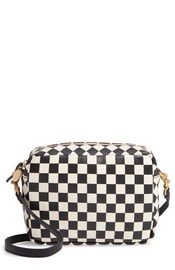 Midi Sac Check Leather Shoulder Bag - White, Cream/ Black Checkers